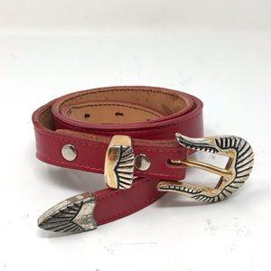Vintage 3-D Belt Sz 39 Red Leather Western Style